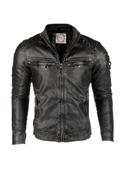 Cipo & Baxx divatos fekete műbőrkabát CM124 BLACK