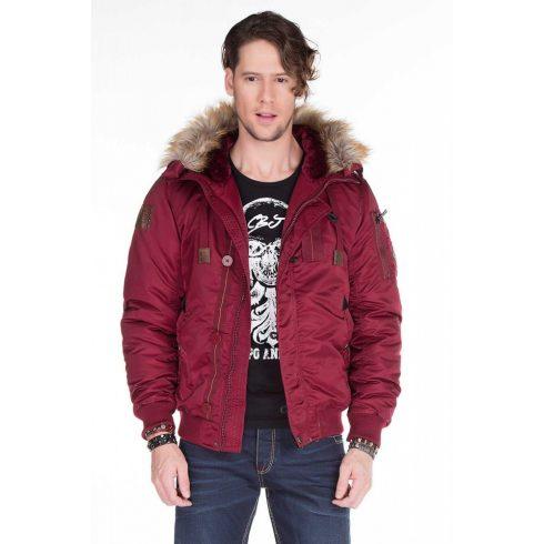 Cipo & Baxx Burgundy kabát CM128 BURGUNDY