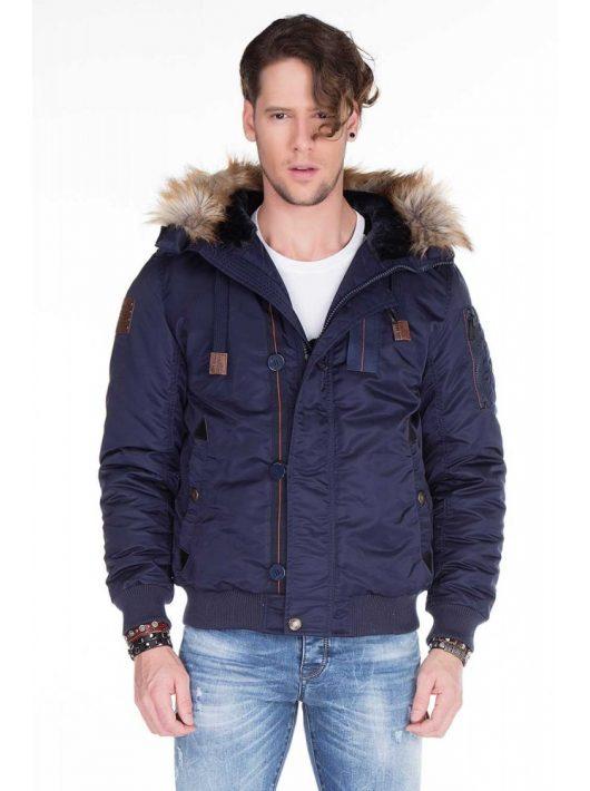 Cipo & Baxx divatos navy blue kabát CM128 NAVY BLUE