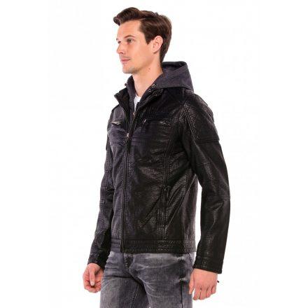 Cipo & Baxx divatos férfi műbőr kabát CM156BLACK