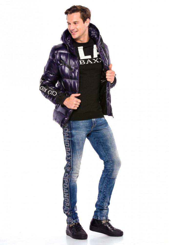 Cipo & Baxx divatos férfi télikabát CM161NAVYBLUE Cipo