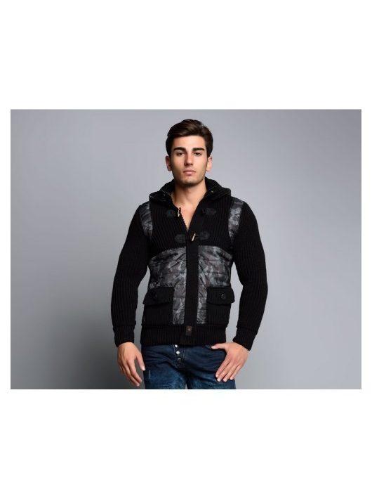 Cipo & Baxx divatos férfi kötött pulóver CP104BLACK