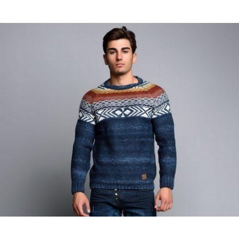 Cipo & Baxx divatos férfi kötött pulóver CP111NAVYBLUE