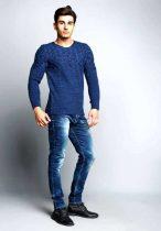 cipo&baxx indigo kötött pulóver