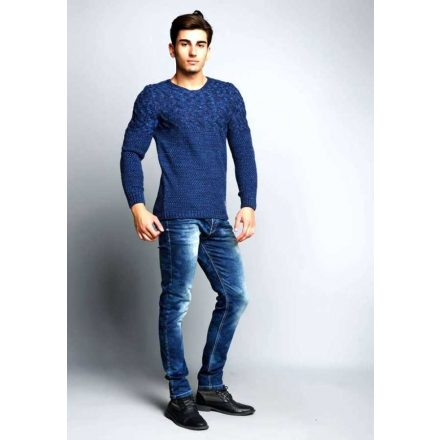 Cipo&Baxx divatos férfi kötött pulóver CP113INDIGO