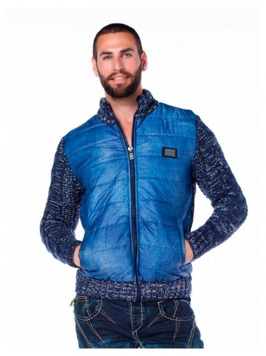 Cipo & Baxx divatos férfi kötött pulóver CP127BLUE