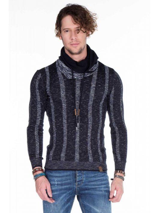 Cipo & Baxx divatos férfi kötött pulóver CP143NAVY BLUE