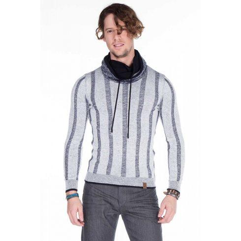 Cipo & Baxx divatos fehér kötött pulóver