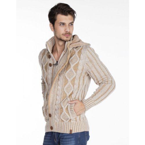 Cipo & Baxx divatos férfi kötött pulóver CP161BEIGE