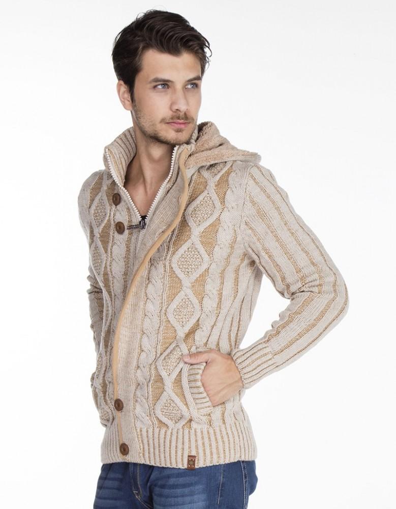 14d62a86fc Cipo & Baxx divatos férfi kötött pulóver CP161BEIGE - Cipo & Baxx ...