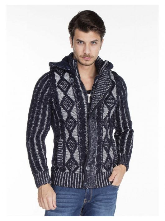 Cipo & Baxx divatos férfi kötött pulóver CP161NAVYBLUE
