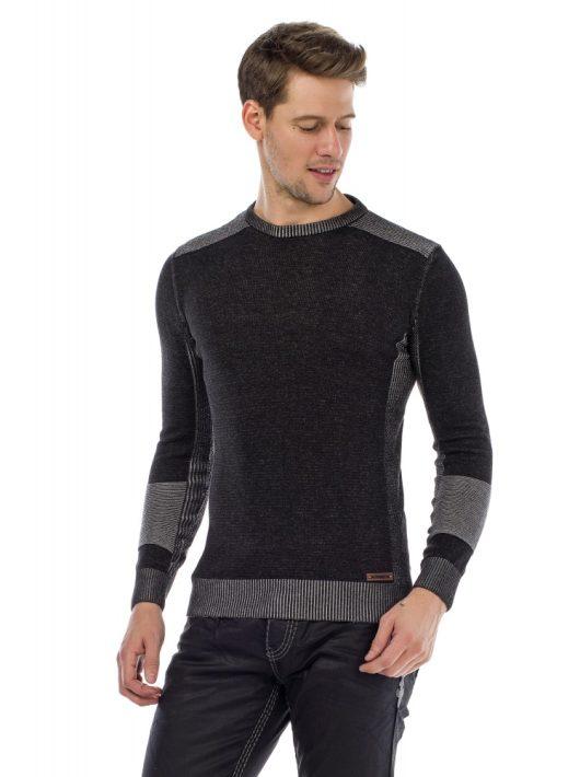 Cipo & Baxx divatos férfi kötött pulóver CP172 ANTHRACITE