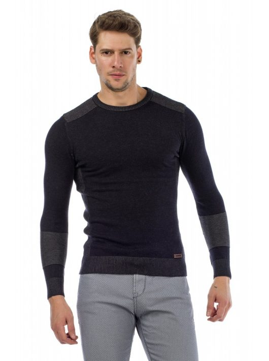 Cipo & Baxx divatos férfi kötött pulóver CP172 DARKBLUE