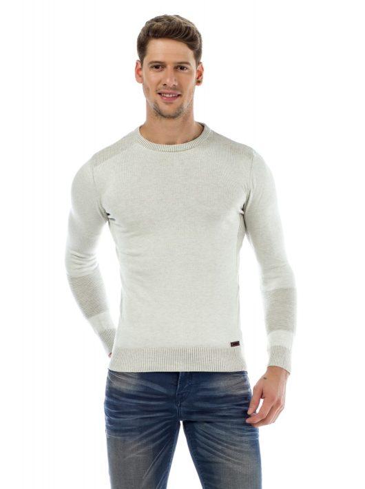 Cipo & Baxx divatos férfi kötött pulóver CP172 WHITE
