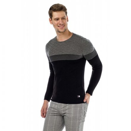 Cipo & Baxx fashionable men's knitted pullover CP181_BLACK-GREY