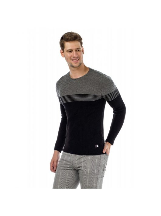 Cipo & Baxx divatos férfi kötött pulóver CP181 BLACK-GREY