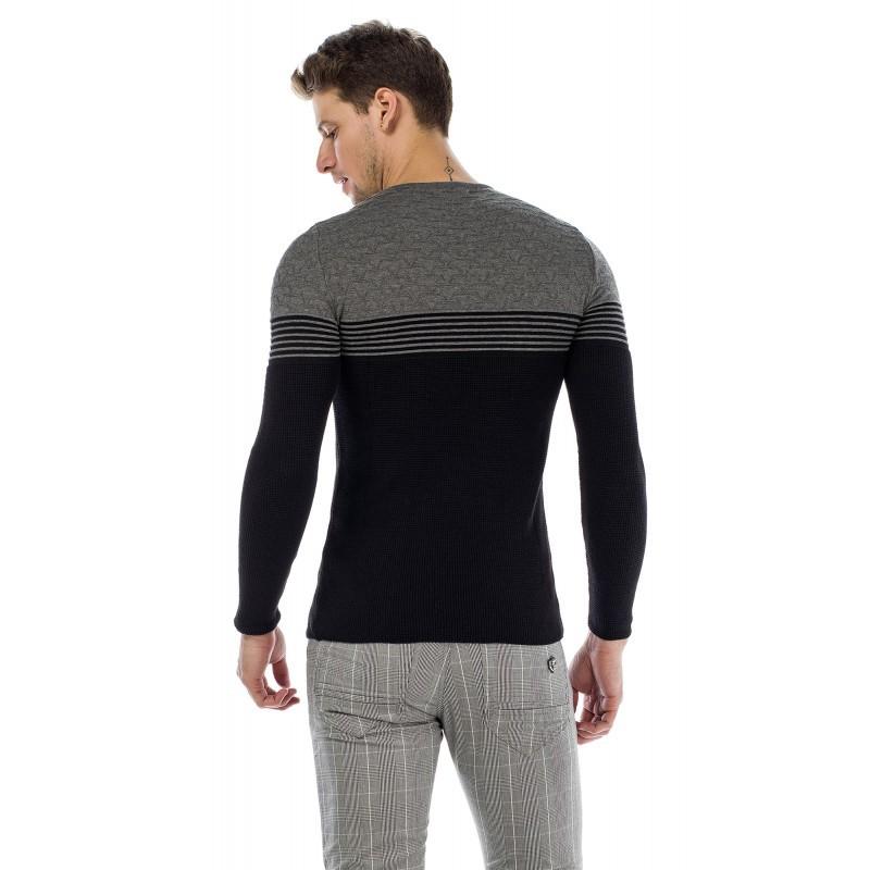 13296ad118 Cipo & Baxx divatos férfi kötött pulóver CP181_BLACK-GREY - Cipo ...