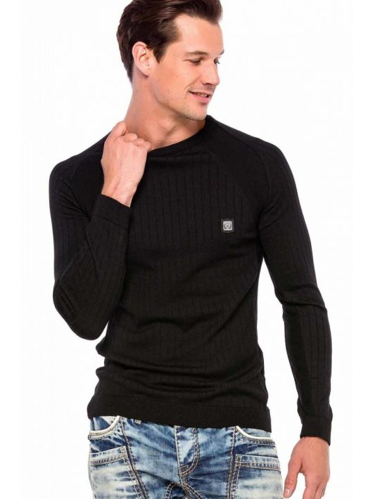 Cipo&Baxx divatos férfi kötött pulóver CP192BLACK