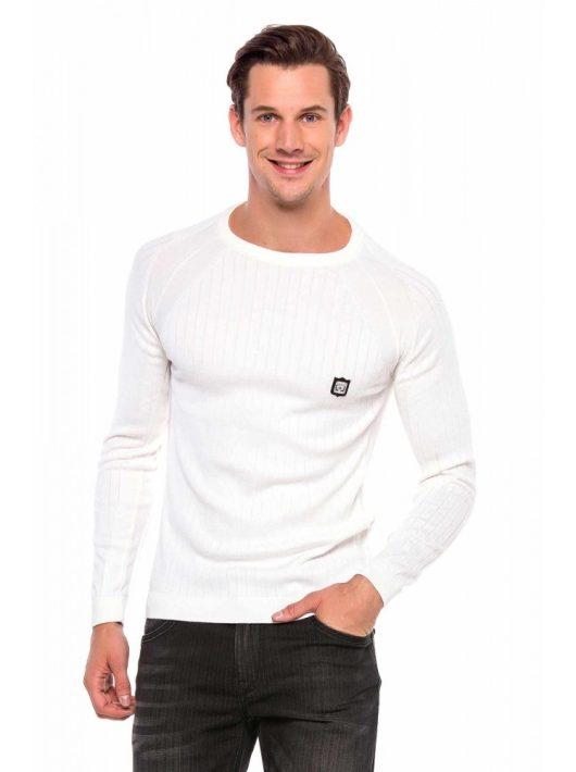 Cipo&Baxx divatos férfi kötött pulóver CP192WHITE