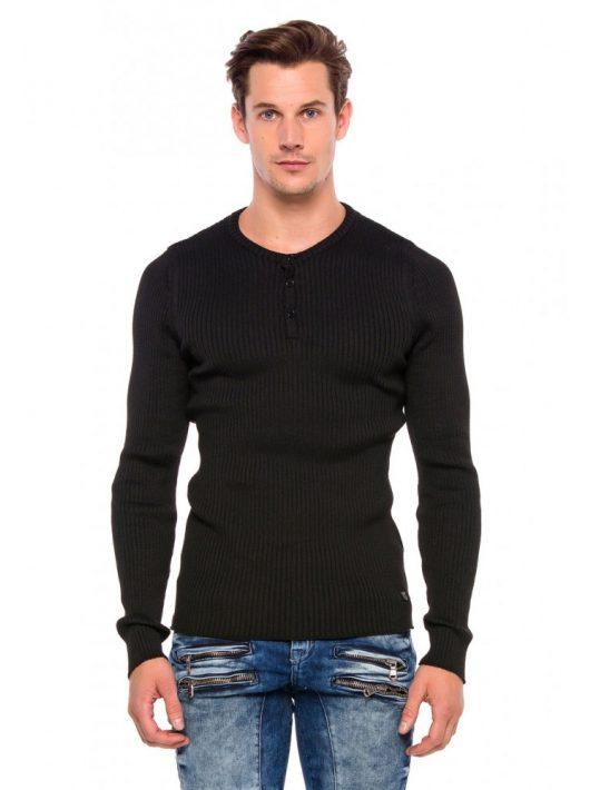 Cipo&Baxx divatos férfi kötött pulóver CP193BLACK