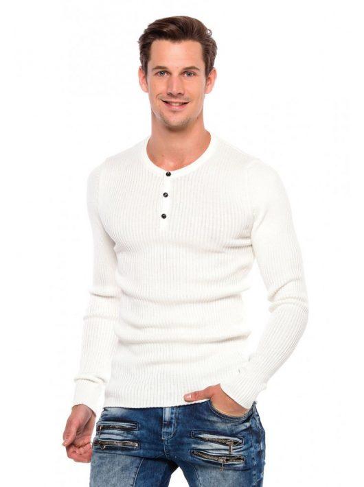 Cipo&Baxx divatos férfi kötött pulóver CP193ECRU