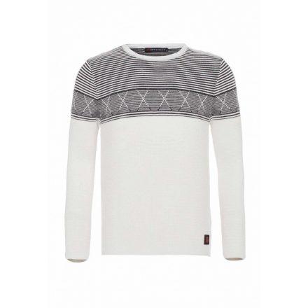 Cipo&Baxx divatos férfi kötött pulóver CP195WHITE-BLACK