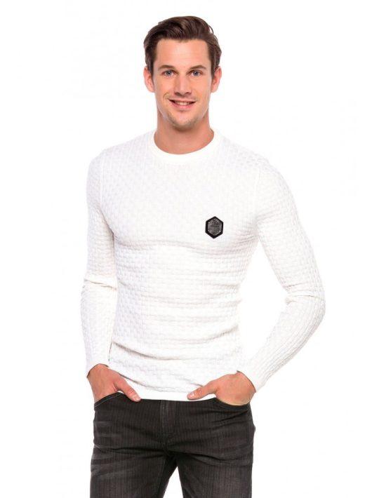 Cipo&Baxx divatos férfi kötött pulóver CP196ECRU
