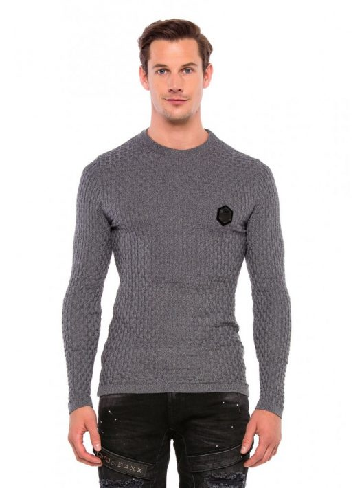 Cipo&Baxx divatos férfi kötött pulóver CP196GREY