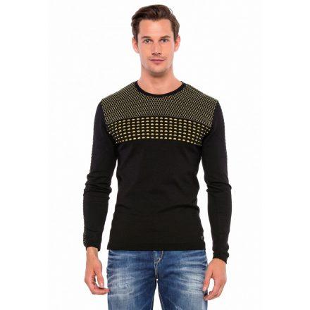 Cipo&Baxx divatos férfi kötött pulóver CP197BLACK-YELLOW