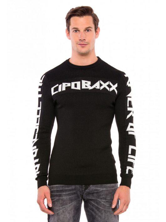 Cipo & Baxx divatos férfi pulóver CP201BLACK