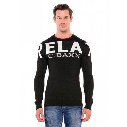 Cipo & Baxx divatos férfi pulóver CP202BLACK