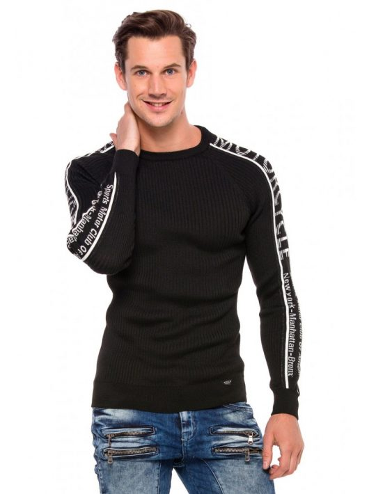 Cipo&Baxx divatos férfi kötött pulóver CP203BLACK
