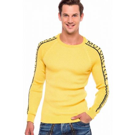 Cipo&Baxx divatos férfi kötött pulóver CP203YELLOW