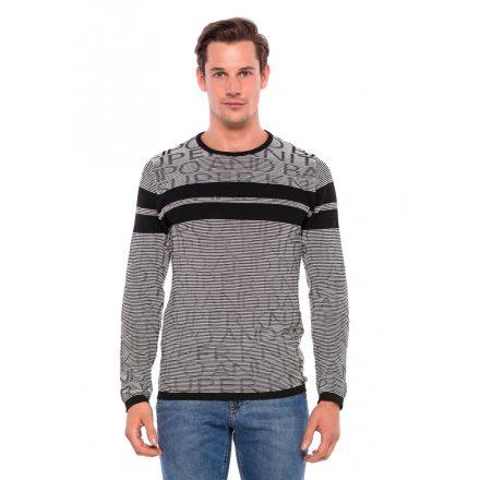 Cipo & Baxx divatos férfi pulóver CP204BLACK-WHITE