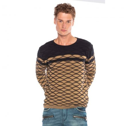 Cipo&Baxx divatos férfi kötött pulóver CP228CAMEL