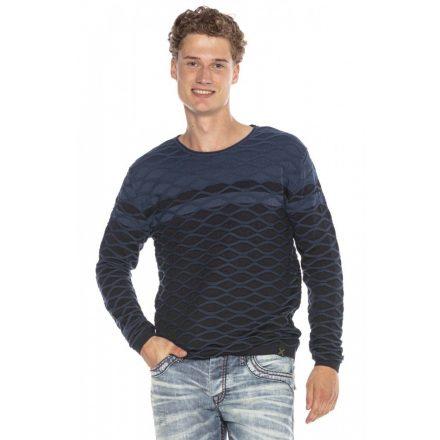 Cipo&Baxx divatos férfi kötött pulóver CP228DARKBLUE