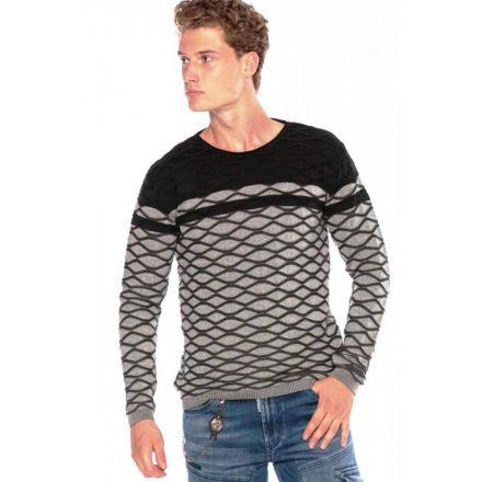 Cipo&Baxx divatos férfi kötött pulóver CP228GREY