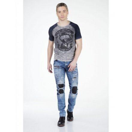 Cipo & Baxx divatos férfi póló CT299ANTHRACITE