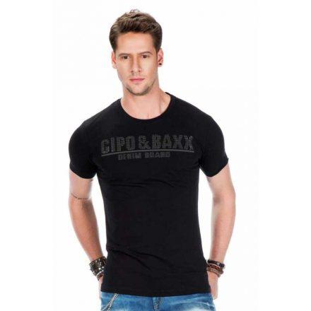 Cipo & Baxx divatos férfi póló CT358 Black