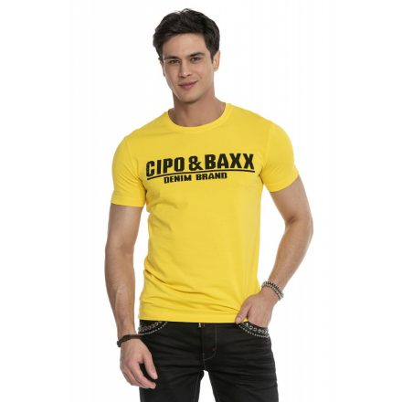 Cipo & Baxx divatos férfi póló CT358 Yellow