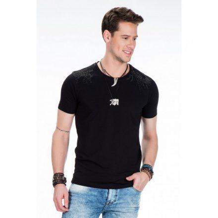 Cipo & Baxx divatos fekete strasszos póló CT376 Black