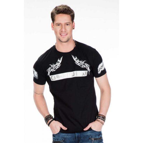Cipo & Baxx divatos fekete póló CT379 BLACK