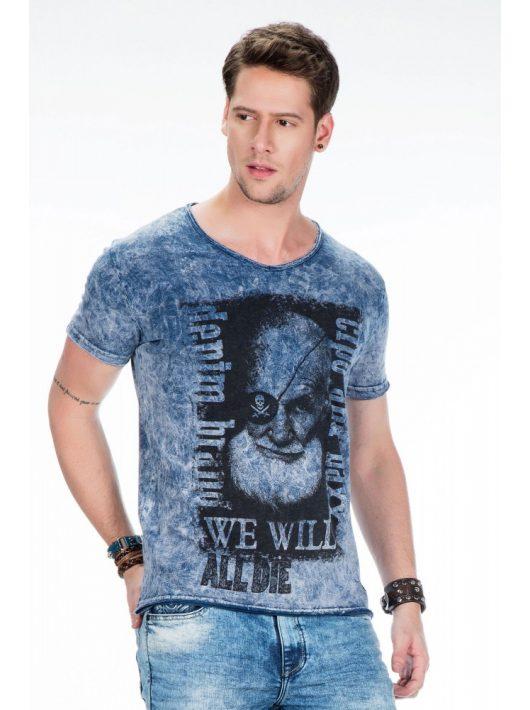 Cipo & Baxx divatos kék férfi póló CT408 BLUE