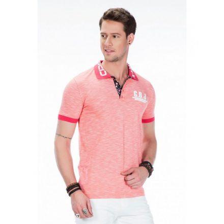 Cipo & Baxx coral men's fashionable T-shirt w/ collar