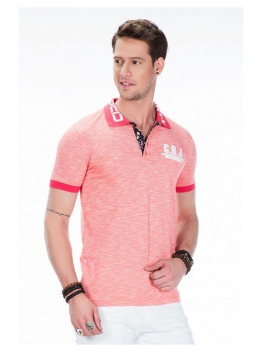Cipo & Baxx korall férfi divatos galléros póló