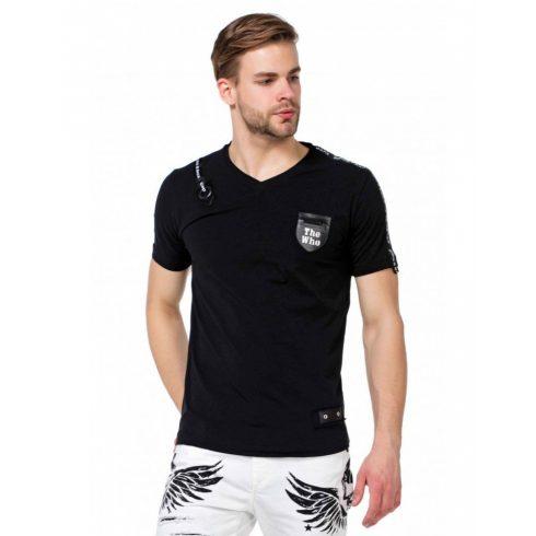 Cipo & Baxx fekete kerek nyakú póló CT421 BLACK