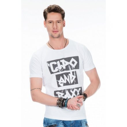 Cipo & Baxx white fashionable T-shirt CT430 WHITE