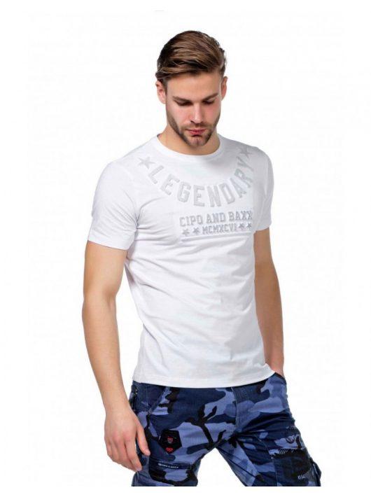 Cipo & Baxx divatos fehér póló