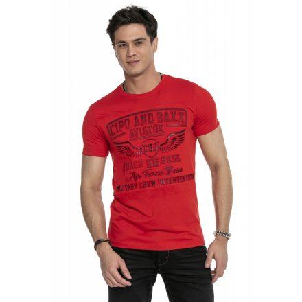 Cipo & Baxx divatos férfi póló CT450 Red