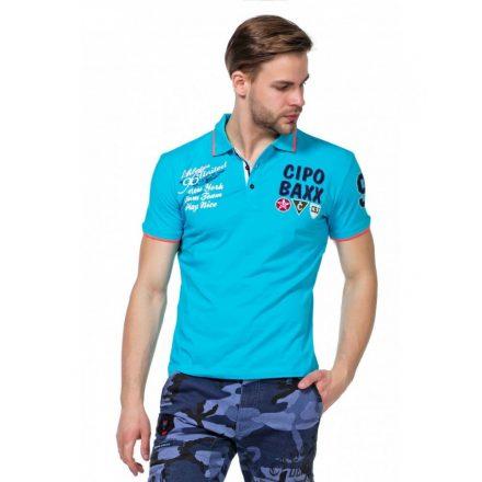 Cipo & Baxx divatos babakék galléros póló CT461 Baby Blue